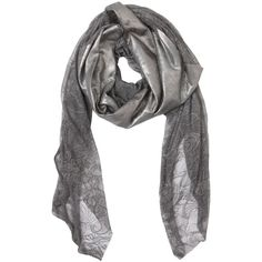 CUTULI CULT Metallic Coated Leather & Lace Scarf (€215) ❤ liked on Polyvore featuring accessories, scarves, grey, leather shawl, lace scarves, grey shawl, gray shawl and metallic shawl