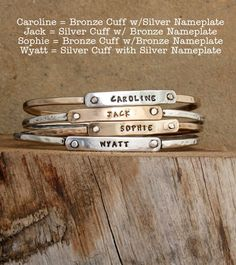 Sterling Silver or Bronze Family Mothesr Bangle Bracelet by Nelle and Lizzy