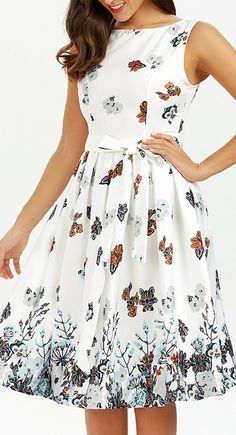 Cheap midi dress, Buy Quality white dress directly from China dress women Suppliers: VESTLINDA White Dress Summer O Neck Belted Sleeveless Floral Print Knee Length Midi Dress Women Vestidos Mujer Elegant Dresses Frock For Teens, Frock For Women, Dresses For Teens, Simple Dresses, Casual Dresses, Short Dresses, Fashion Dresses, Elegant Dresses, Casual Frocks