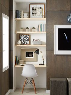 10 Small Space Shelving Solutions That Maximize Your Storage Potential Tiny Home Office, Home Office Closet, Small Home Offices, Office Nook, Home Office Space, Home Office Design, Home Office Furniture, Home Office Decor, Corner Office