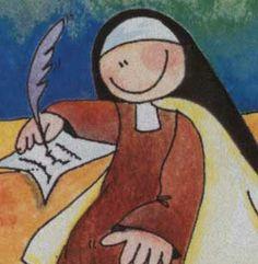 Teresa criança. :)   Aos sete anos tentou fugir de casa, levando seu irmão para morrerem como mártires.