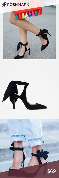 """LAST SIZE! ZARA Pointy Ankle Tie Heels BRAND NEW Brand new with tags and box. Never worn. Tie up / Bow heels. Beautiful! ZARA Eur 37/38, US 6.5/7.5. 3.5"""" heel height. Zara Shoes Heels"""