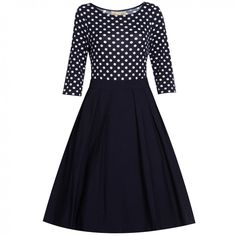 Polka Dot Panel Fit and Flare Dress Vintage Inspired Fashion, Vintage Inspired Dresses, Vintage Fashion, Long Sleeve Striped Dress, Plus Size Vintage Dresses, Casual Dresses For Women, Clothes For Women, Cheap Dresses Online, Chiffon
