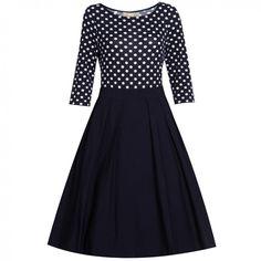 Šaty Lindy Bop Josefine Navy Polka Retro šaty ve stylu 50. let. Okouzlující šaty ve francouzském stylu, které užijete pro spoustu příležitostí. Velmi příjemné a nápadité šaty v pohodovém provedení. Vrchní část ze silné pružné bavlny (95% bavlna, 5% elastan), tříčtvrteční rukáv, lodičkový výstřih. Sukně rozšířená do tvaru A, v pase s pravidelnými sklady (64% bavlna, 32% nylon, 4% elastan), krytý zip v bočním švu. Pro bohatý objem sukně doporučujeme pořídit spodničku z naší nabídky, buď v…