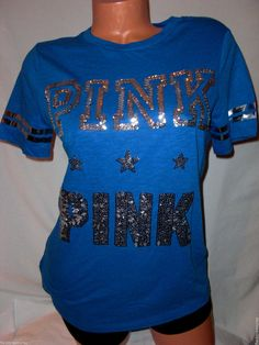 New XS Victoria's Secret PINK Star T- Shirt Bling Royal Blue Silver Sequins  #VictoriasSecretPINK #EmbellishedTee