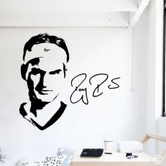 Roger Federer, Tumblr Drawings, Art Drawings, Stencil Art, Stencils, Messi Drawing, Wall Stickers, Wall Decals, Gaming Wall Art