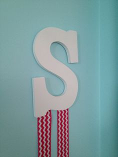 Pink Chevron Initial Hairbow Holder by almdesigns on Etsy, $15.00