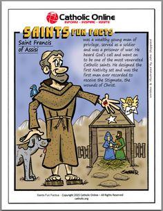 FREE Digital Download PDF, saints fun facts, st francis of assisi, free pdf