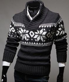 78c8b2051ac73 Stylish Stand Collar Slimming Christmas Snowflake Jacquard Long Sleeve  Polyester Sweater For Men