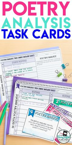 Engage your students in poetry analysis with these poetry analysis task cards. These task cards work with any poem and are a great addition to any middle school ELA or high school English poetry class. Poetry Classes, Poetry Lessons, Middle School Ela, High School, Classroom Behavior Management, Behavior Plans, Behavior Charts, Poems In English, Poetry Unit