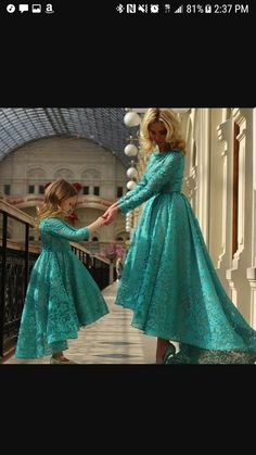 f5e704c104 Hunter Green Prom Dresses, Mother And Little Girls Evening Dresses, Long  Sleeve Evening Gowns, High Front And Low Back Prom Dress, Lace Party Dresses