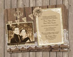 Burlap and Lace Wedding Invitation vintage by MissBlissInvitations