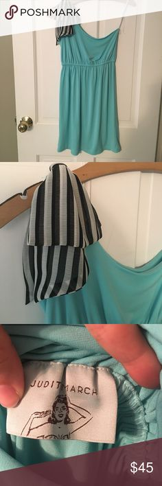 One shoulder dress Turquoise Judith March one shoulder dress with striped bow size small Judith March Dresses One Shoulder