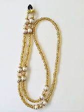 Gold Crystal and Glass Pearl Beaded Eyeglass Chain Holder Reading Sun Glasses
