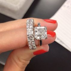 From left to right: Asscher Cut Diamond Eternity Band, Asscher Engagement Ring by Ring Concierge Luxury Engagement Rings, Classic Engagement Rings, Engagement Bands, Solitaire Engagement, Eternity Ring Diamond, Diamond Wedding Bands, Diamond Rings, Diamond Anniversary Rings, Wedding Rings For Women