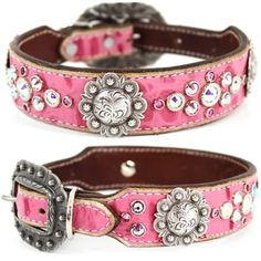 A gator embossed pink leather dog collar with Swarovski crystals. For medium to large dogs.
