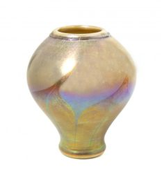 A Tiffany Studios Favrile Glass Vase, Height 7 inches. of baluster form with pulled decoration in gold iridescence Tiffany Art, Tiffany Glass, Tiffany Jewelry, Louis Comfort Tiffany, Pottery Art, Iridescent, Art Nouveau, Glass Art, Studios