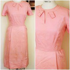 6909b9660ed CLEARANCE  Vintage 1950s Pink Wiggle Dress   50s Silk Dress   Vintage  Summer Dress   Spring Dress