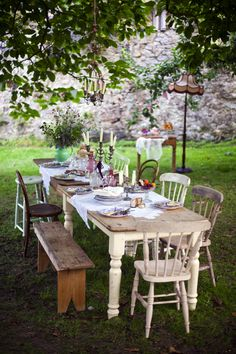 Feast Final Meal 58 Outdoor Dinner Parties Entertaining Cottage Shabby Chic Farmhouse Table