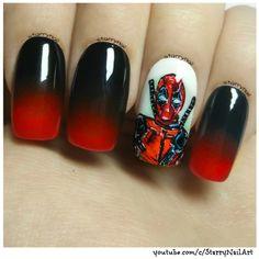 Deadpool ⎮ Freehand Nail Art Tutorial