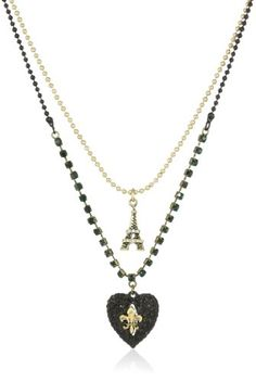 """Betsey Johnson """"Betsey Goes to Paris"""" Glitter Heart and Eiffel Tower 2 Row Necklace ♥"""