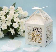 Wedding favor box with elegant roses, gift box (50pcs)