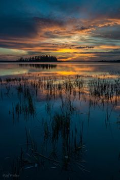 Sunset over Astotin Lake by Jeff Wallace #reflection