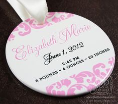 Birth Announcement Ornament Babys First Christmas Ornament Personalized Baby Girl New Birth Ornament - Kirkland Pattern $26