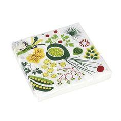 Skapa en färgstark och inspirerande dukning med Kulinara servett designad av Hanna Werning för Rörstrand. Servetten är tillverkad i fint papper och har ett mönster som ger en kulinarisk upptäcktsfärd med sina härliga bär och grönsaker inspirerade av Sveriges olika säsonger. Kombinera servetten med andra fina delar ur Kulinara-serien för en komplett dukning!