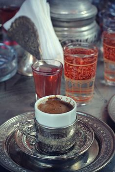 You must drink the water first This cleans the taste receptors  Then you drink coffee slowly and plenty  When it's all finished its time for the Turkish delight.  The taste stays a lot while.  It's totally different and delicious then espresso.  Amazing !!