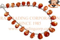 Sunstone Faceted Pear (Quality AAA) Shape: Pear Faceted Length: 18 cm Weight Approx: 5 to 7 Grms. Size Approx: 6x8 to 7x10 mm Price $19.80 Each Strand