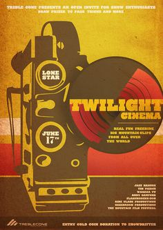 Twilight cinema poster, Treble Cone, New Zealand