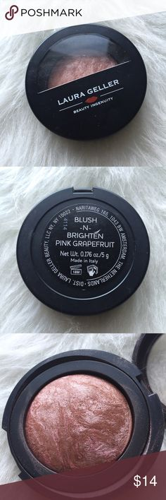 Laura Geller baked blush-n-brighten blush This blush has been used a few times. The shade is in pink grapefruit.  Just looking to sell right now, so no trades.  I don't use any other sites to sell makeup.  I aim to ship same day.  I always take the shipping price into consideration, please take the sellers fee into yours!  Use the offer button, I might accept! I won't discuss prices in the comments & low ball offers will be ignored.  If you have any questions, please ask!  Laura Geller…