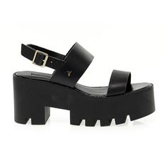 Windsor Smith High Heel Sandals (500 RON) ❤ liked on Polyvore featuring shoes, sandals, & - clothing - shoes, black, leather shoes, black platform shoes, kohl shoes, black platform sandals and black shoes