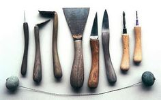 New Zealand potter Chris Weaver's tools are made from driftwood collected on the beach outside Chris's studio.