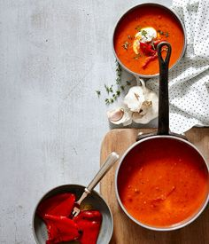 roast red pepper and saffron soup