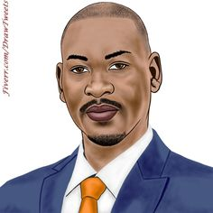 Handsome Businessman on Focus - An art piece inspired by the 3rd order from Cadiwill in I will hand draw cartoon avatar from your photo gig on Fiverr.com/DrawTweets #Handsome #Businessman #Focus #NavyBlueSuit #Caricature #Art #Drawing
