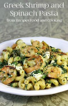 Greek Shrimp and Spinach Pasta A delicious pasta dish full of shrimp, spinach and feta with a Greek flair. - Recipes, Food and Cooking Recettes de cuisine Gâteaux et desserts Cuisine et boissons Cookies et biscuits Cooking recipes Dessert recipes Greek Recipes, Fish Recipes, Seafood Recipes, Cooking Recipes, Healthy Recipes, Cooking Food, Shrimp And Spinach Recipes, Food Food, Healthy Meals