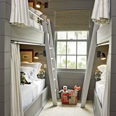 13. Soothing Grey Bunk Room - Our Most Repinned Rooms Ever - Coastal Living LIKE CURTAIN ROD