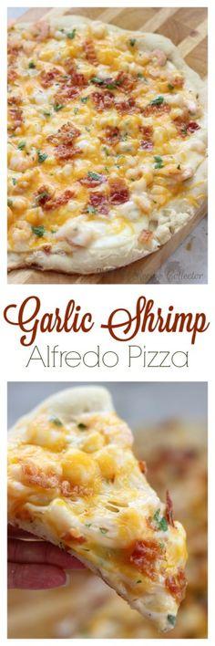 Garlic Shrimp Alfredo Pizza   Diary of A Recipe Collector
