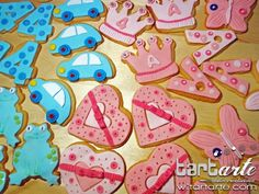 Princess, car, frog, heart, butterfly cookies by www.tartarte.com