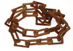 Vintage Folk Art carved wood chain links handmade whimsy by sweetalicelovesyou on Etsy