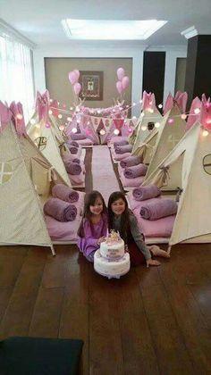 Lovely tee pee setup for girls sleepover
