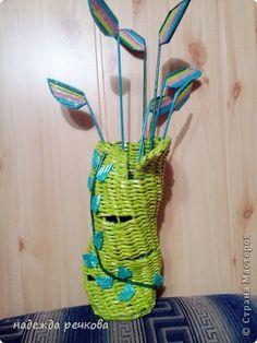 Поделка изделие Плетение вазы Трубочки бумажные фото 7