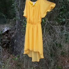 Level Eight never nwot Yellow w/white polka  asymmetrical,  fully lined, high low Level Eight Dresses High Low