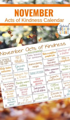 Random Acts of Kindness Calendar for November, November Kindness Calendar, show gratitude and promote kindness with these Random acts of kindness ideas for Fall, This Monthly acts of kindness calendar is full of fun ideas Thanksgiving Activities, Autumn Activities, Activities For Kids, Thanksgiving Treats, Kindness Activities, Kindness Ideas, Kindness Projects, Kindness Elves, Kindness Matters