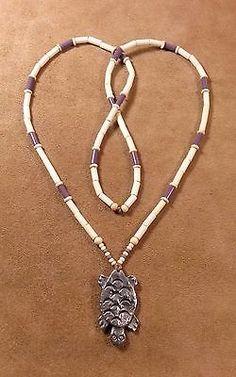 Silver-Turtle-Pendant-amp-Wampum-Bead-Necklace-Eastern-Woodlands-Longhunter-XL