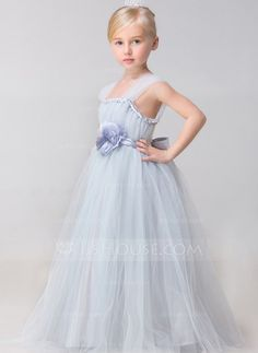 Ball Gown Straps Ankle-length Flower(s) Rayon Flower Girl Dress Flower Girl Dress