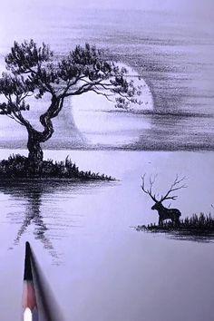 Landscape Pencil Drawings, Cool Pencil Drawings, Art Drawings Sketches Simple, Drawing Scenery, Nature Drawing, Art Drawings Beautiful, Sketching, Paintings, Videos