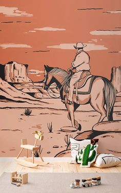 Introduce a cool new theme to your child's space that's inspired by the American Wild West, with the Wild West Cowboy Horse Wallpaper Mural, created in a cool vintage comic book style. This bespoke landscape mural features iconic Western details such as a cowboy, horse, cactus, tumbleweed and is set in the Monument Valley in Arizona. Designed by our in-house team, the intricate details, and warm orange colour palette adds a sophisticated style to the design, perfect for older children too.